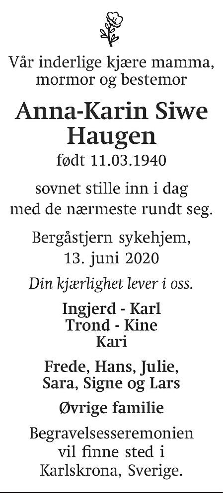 Ann- Karin Siwe  Haugen Dødsannonse