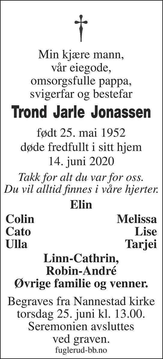 Trond Jarle Jonassen Dødsannonse