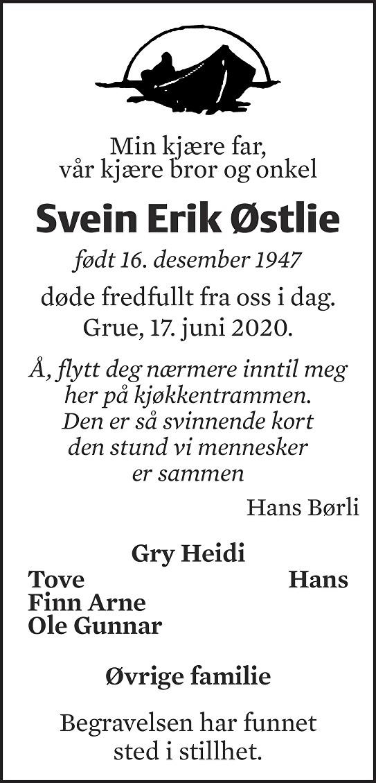 Svein Erik Østlie Dødsannonse