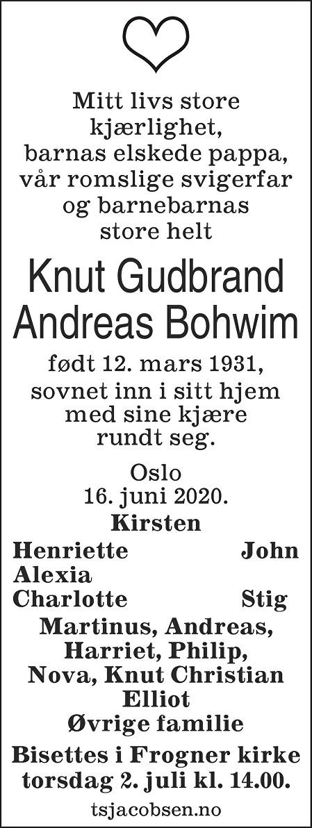 Knut Gudbrand Andreas Bohwim Dødsannonse