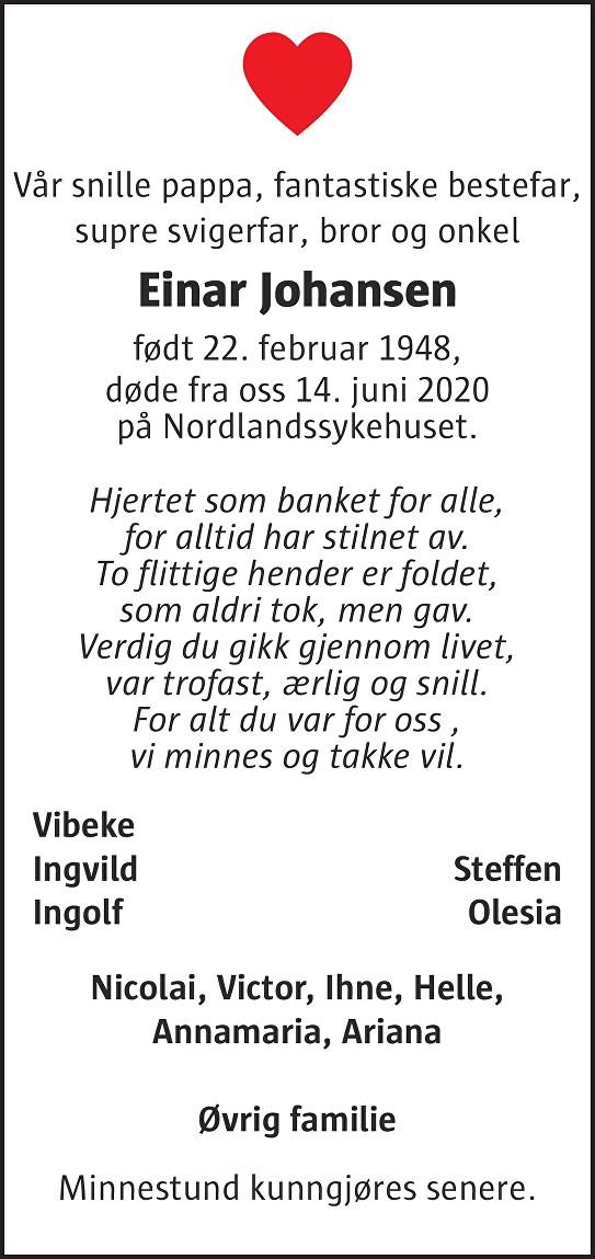 Einar Johansen Dødsannonse