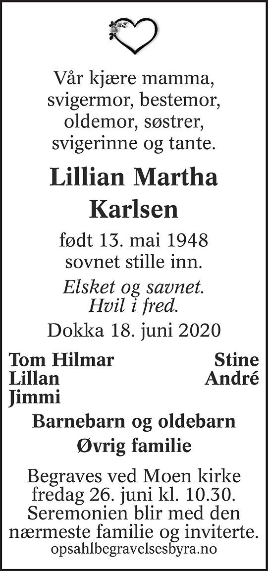 Lillian Martha Karlsen Dødsannonse