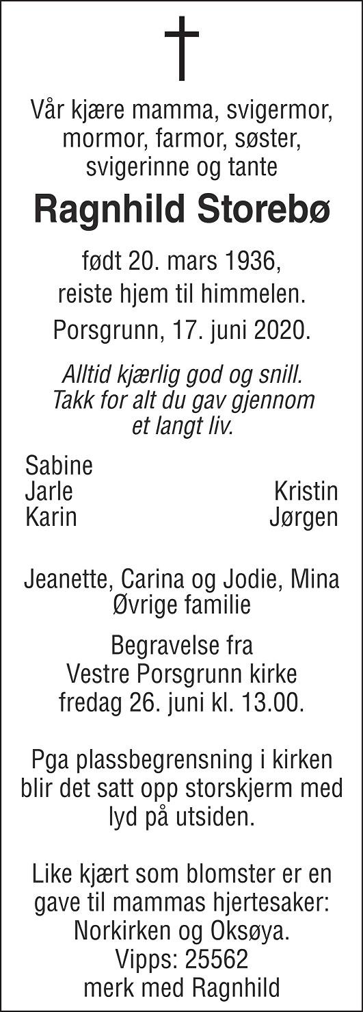 Ragnhild Storebø Dødsannonse