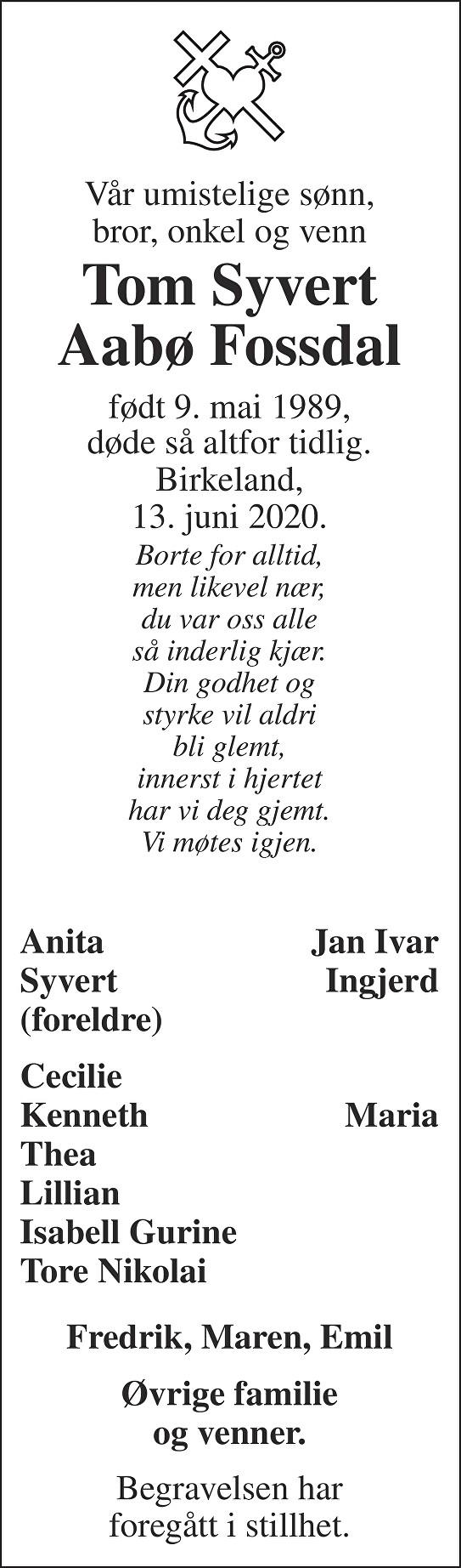 Tom Syvert Aabø Fossdal Dødsannonse