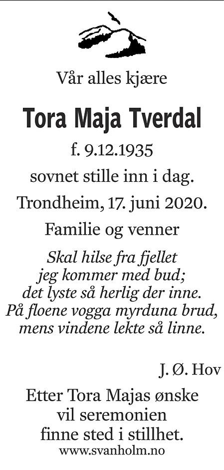 Tora Maja Tverdal Dødsannonse