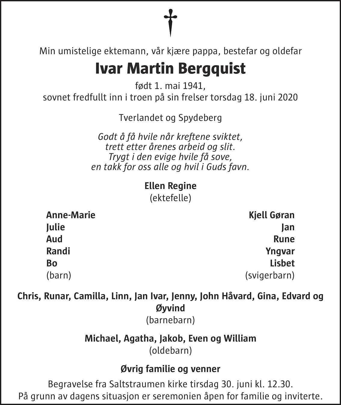 Ivar Martin Bergquist Dødsannonse