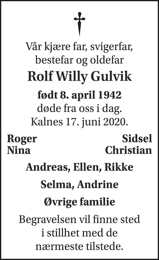 Rolf Willy Gulvik Dødsannonse