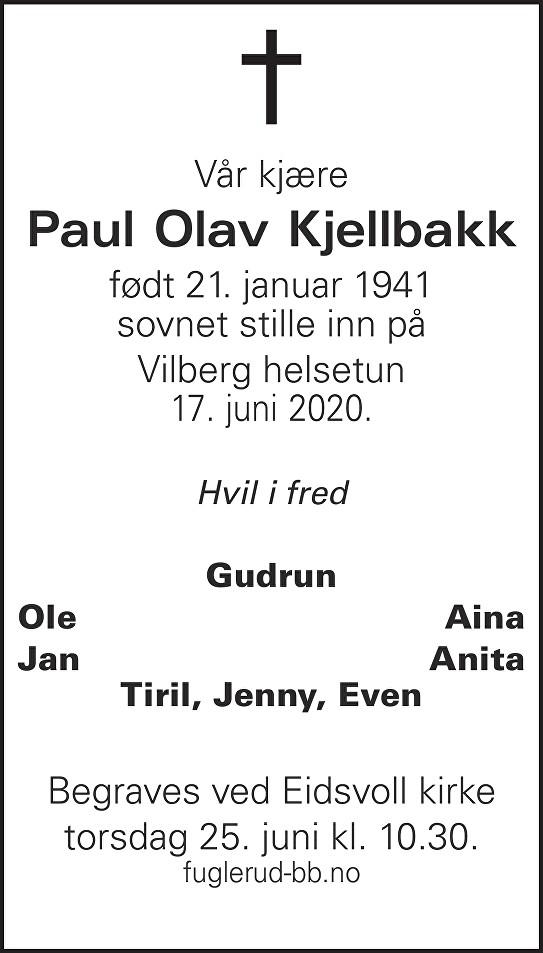Paul Olav Kjellbakk Dødsannonse