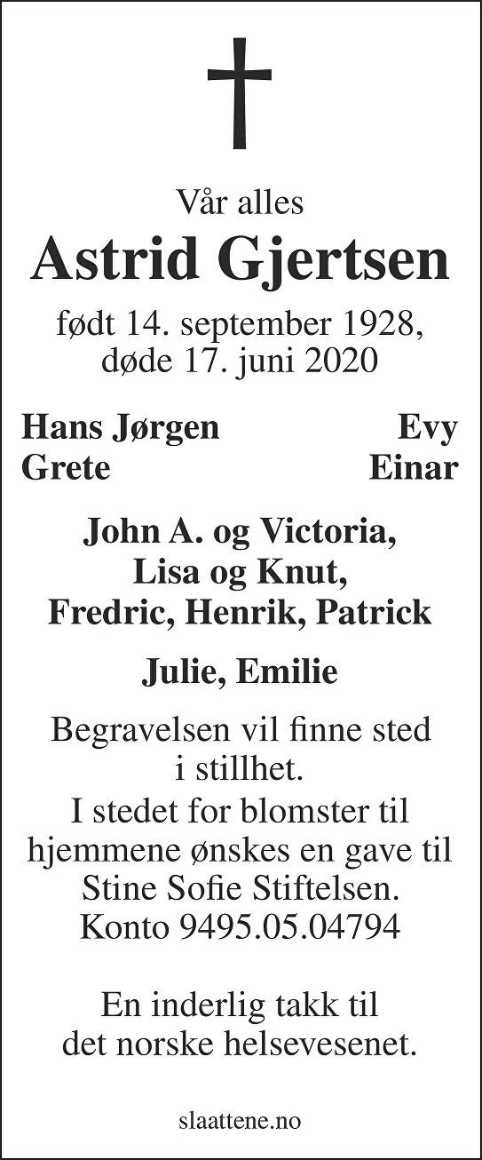 Astrid Gjertsen Dødsannonse