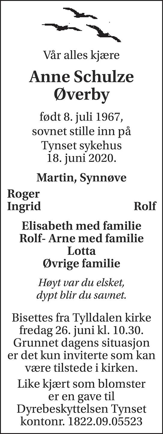 Anne  Schulze Øverby Dødsannonse