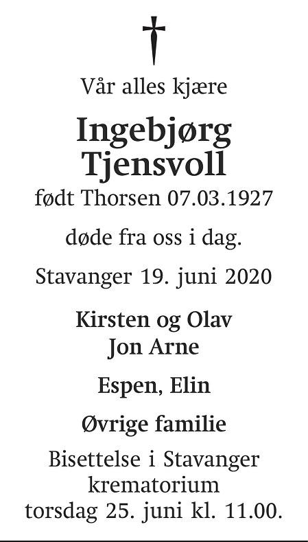 Ingebjørg Tjensvoll Dødsannonse