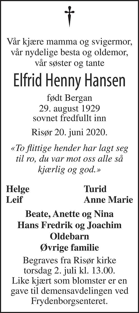 Elfrid Henny  Hansen Dødsannonse