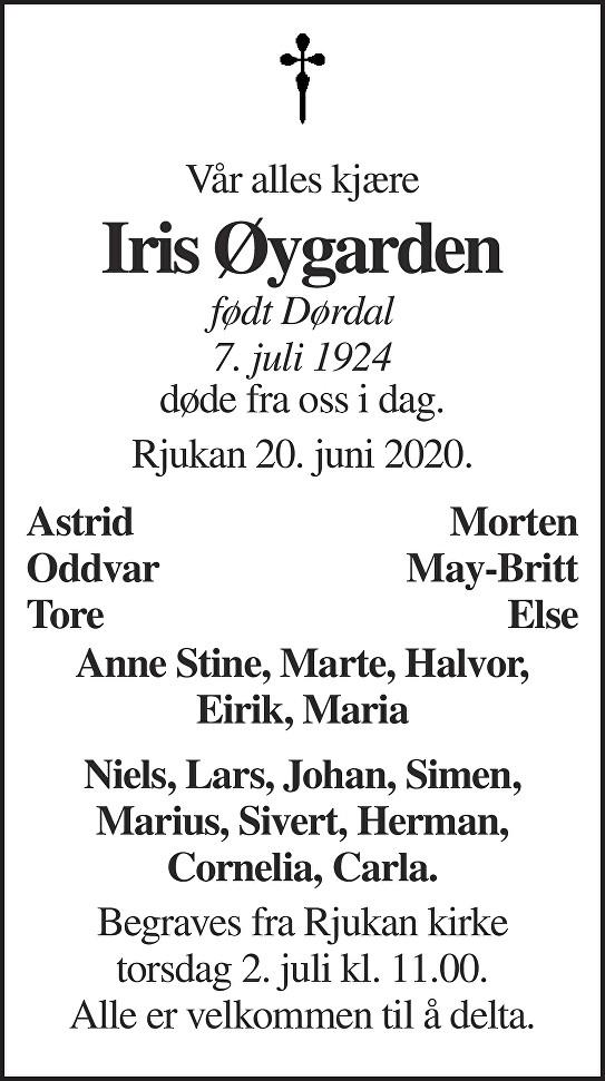 Iris Øygarden Dødsannonse
