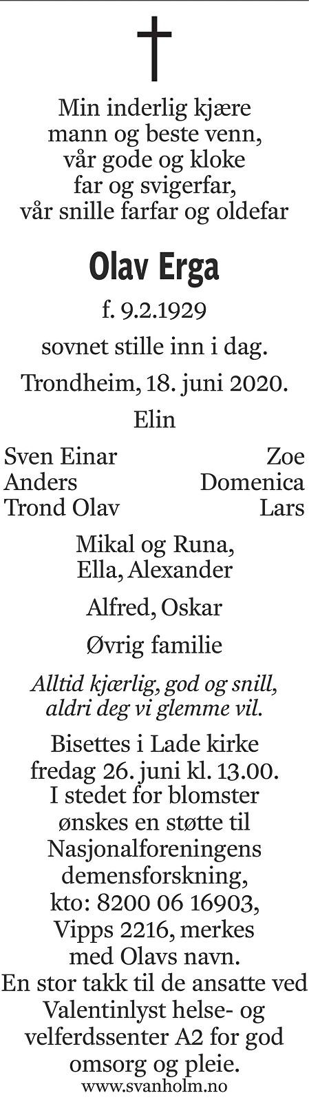 Olav Erga Dødsannonse