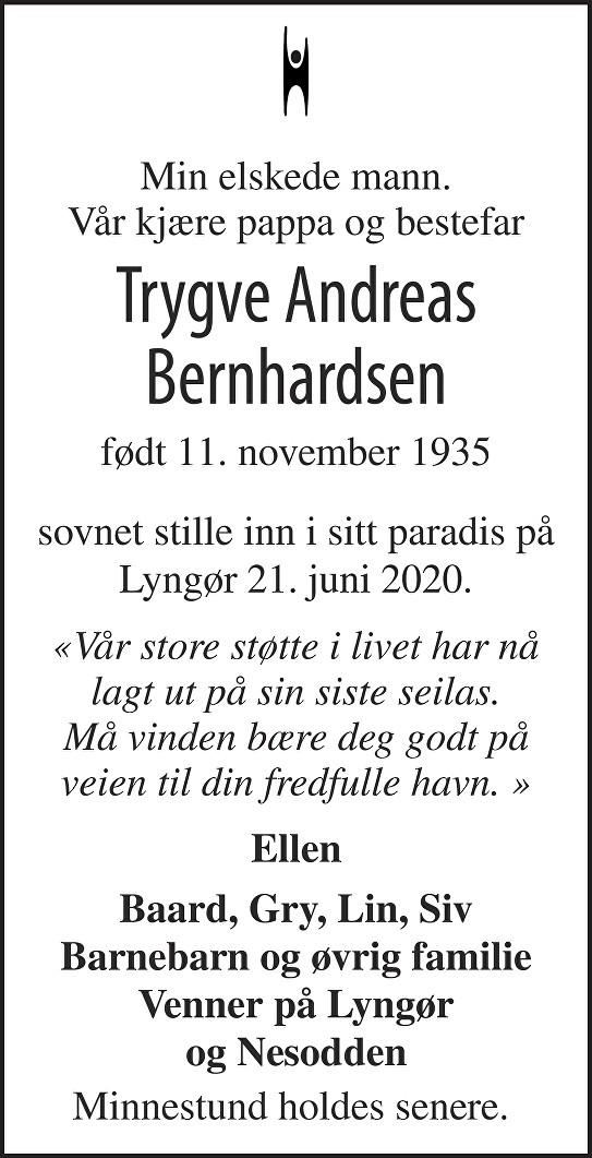 Trygve Andreas Bernhardsen Dødsannonse