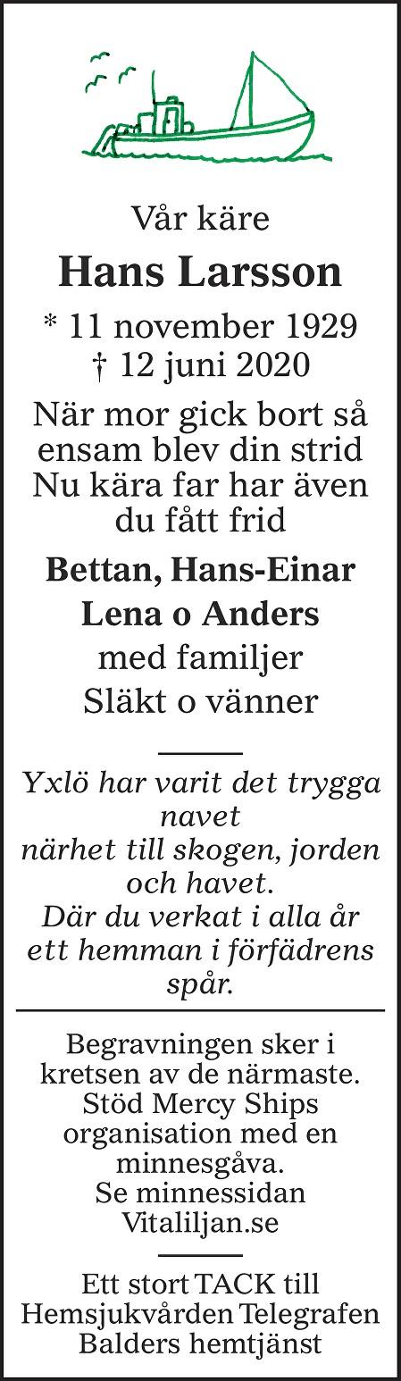 Hans Larsson Death notice
