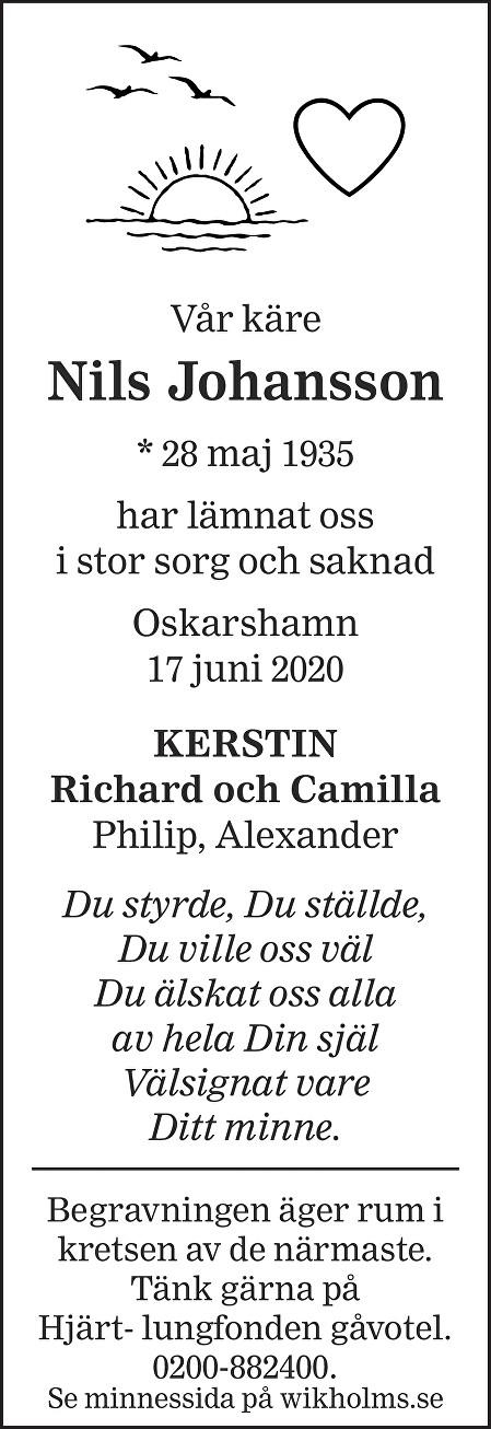 Nils Johansson Death notice