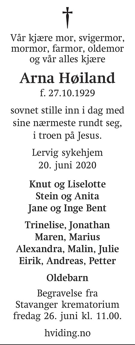 Arna Høiland Dødsannonse