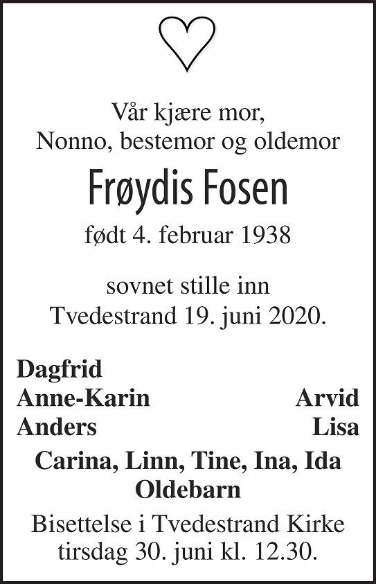 Frøydis Fosen Dødsannonse