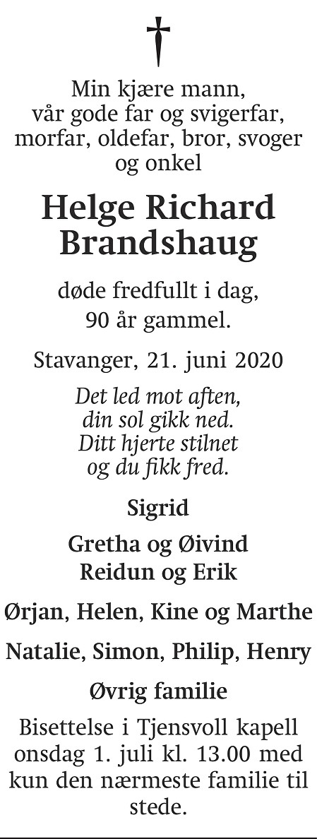 Helge Richard Brandshaug Dødsannonse