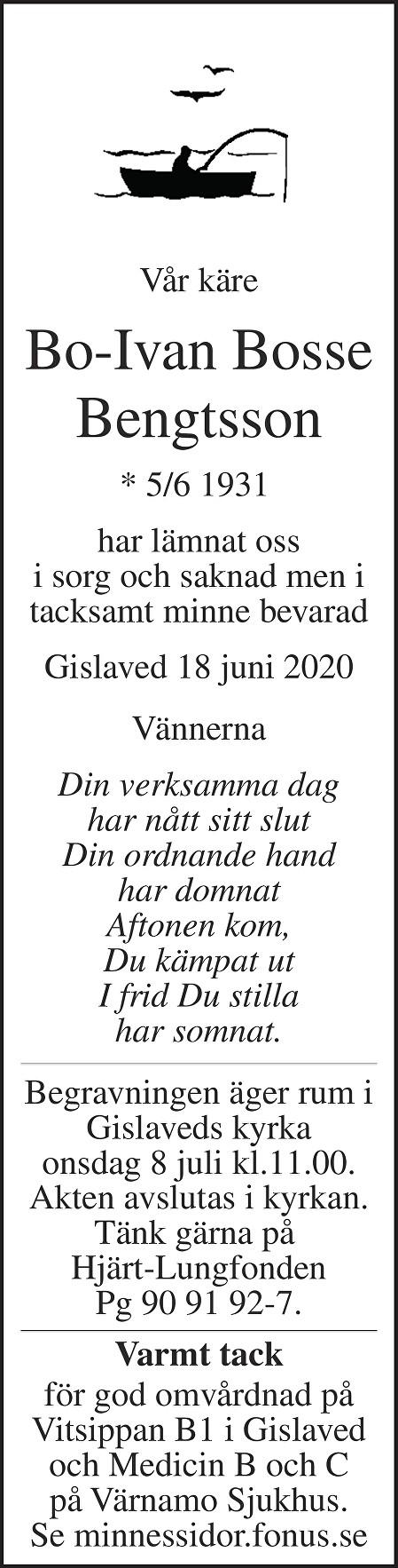 Bo-Ivan Bosse Bengtsson Death notice