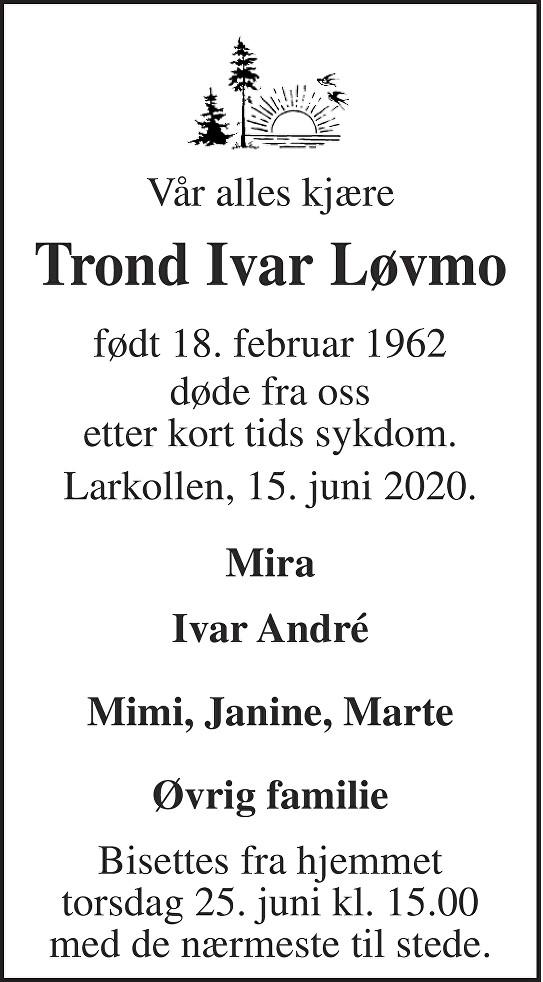 Trond Ivar Løvmo Dødsannonse