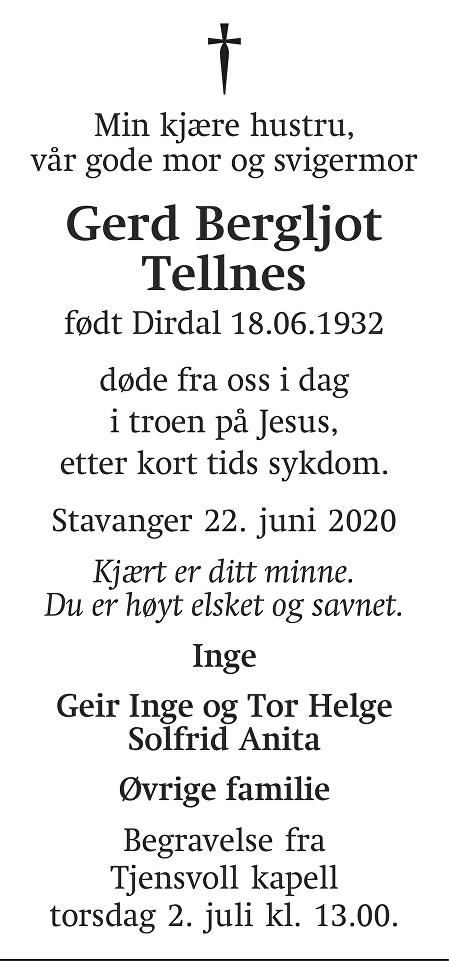 Gerd Bergljot Tellnes Dødsannonse