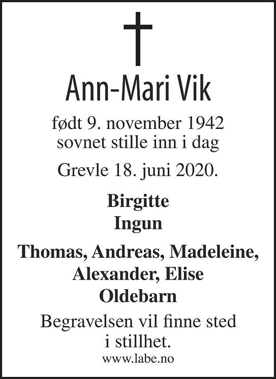 Ann-Mari Vik Dødsannonse