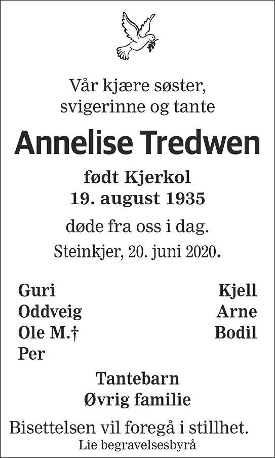 Annelise Tredwen Dødsannonse