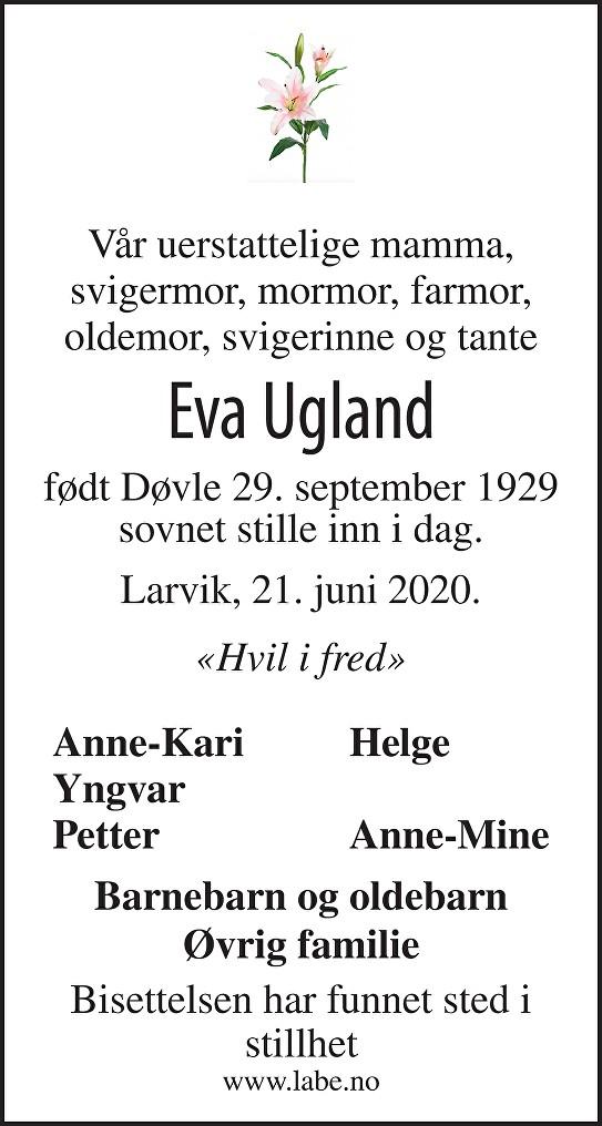 Eva Ugland Dødsannonse
