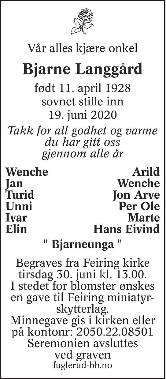 Bjarne Langgård Dødsannonse