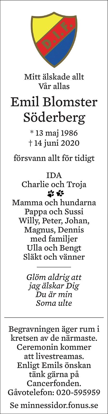 Emil Erik Blomster Söderberg Death notice