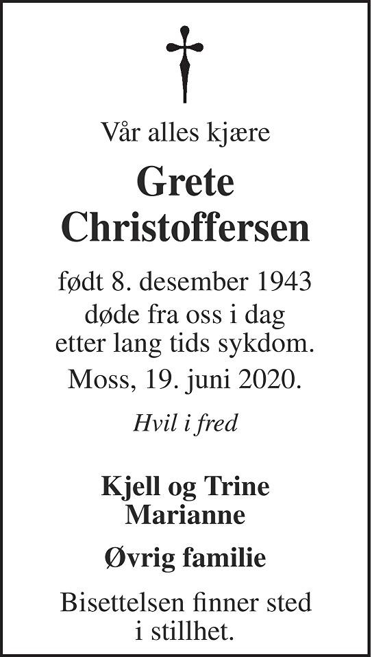 Grete Christoffersen Dødsannonse