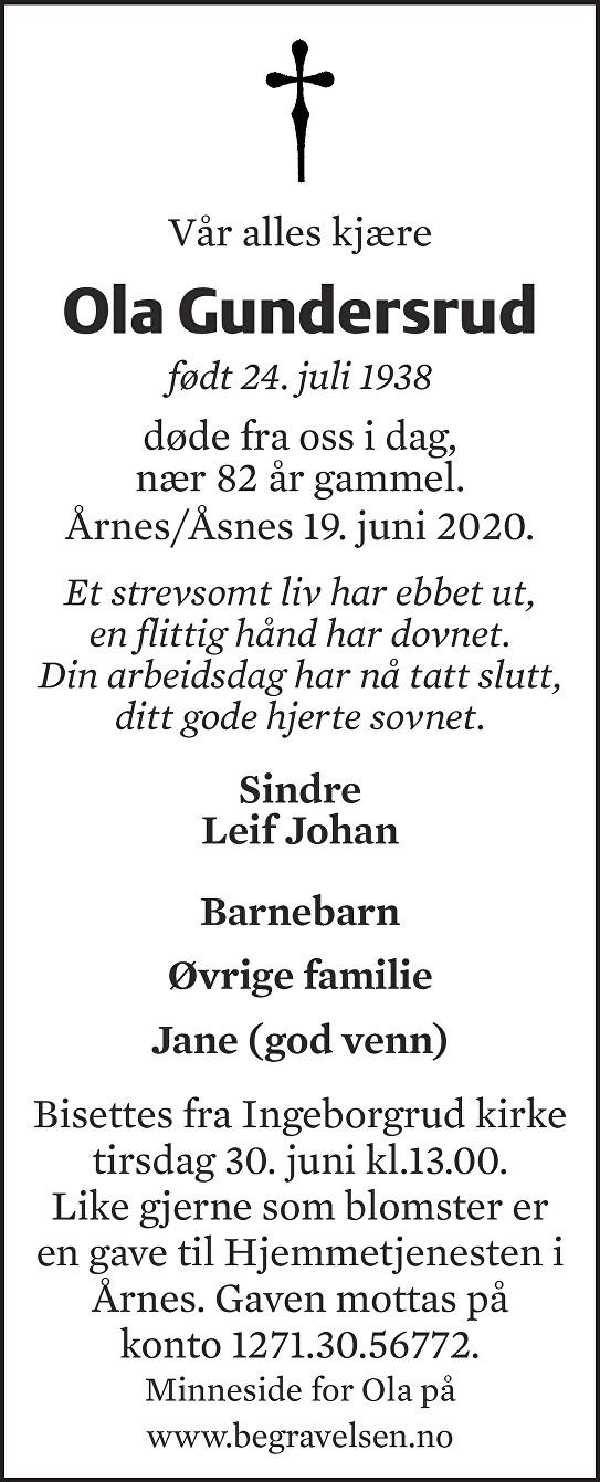 Ola Gundersrud Dødsannonse