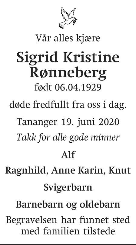 Sigrid Kristine Rønneberg Dødsannonse