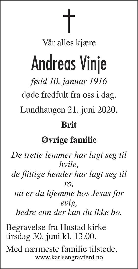 Andreas  Vinje Dødsannonse