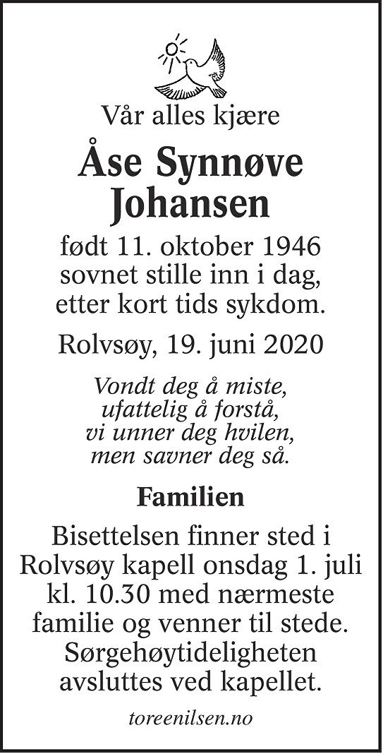 Åse Synnøve Johansen Dødsannonse