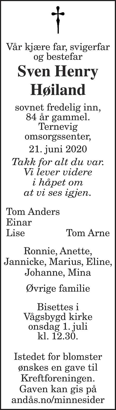 Sven Henry Høiland Dødsannonse
