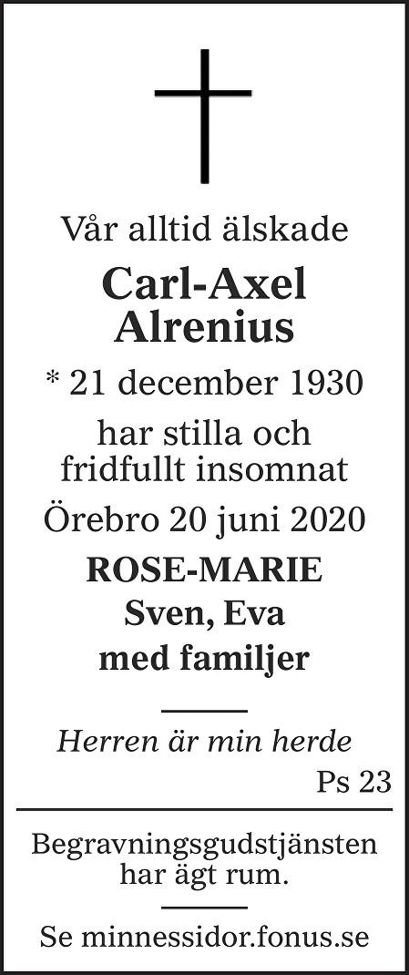Carl-Axel Alrenius Death notice