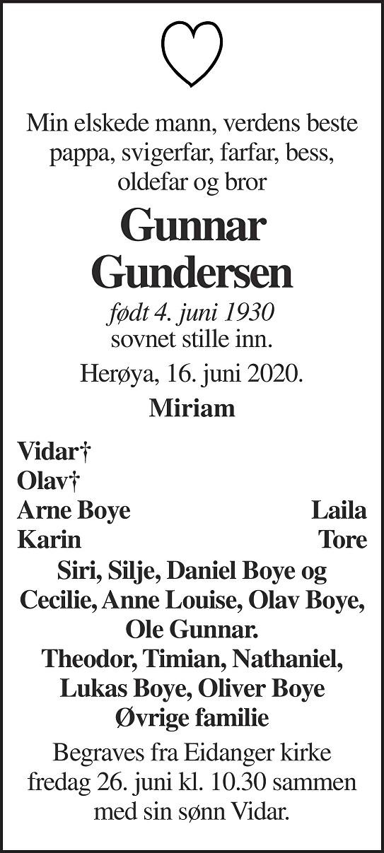 Gunnar Gundersen Dødsannonse