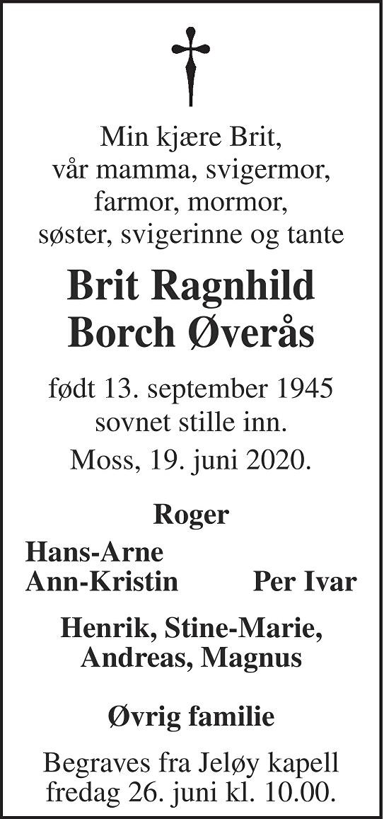 Brit Ragnhild Borch Øverås Dødsannonse