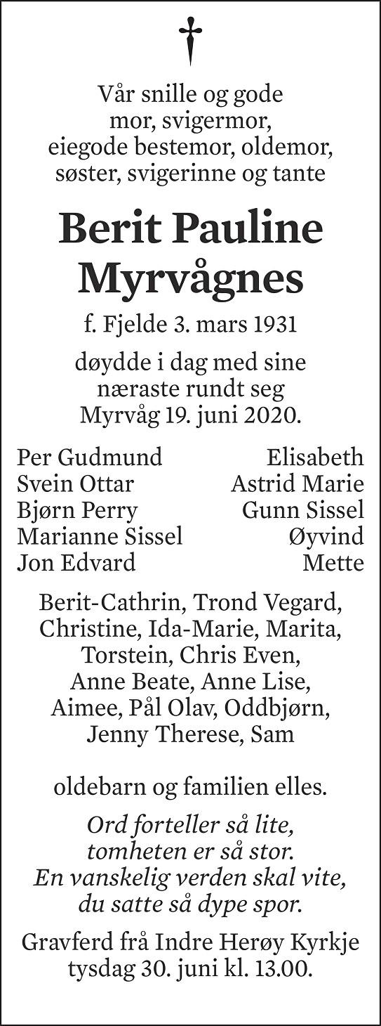 Berit Pauline Myrvågnes Dødsannonse