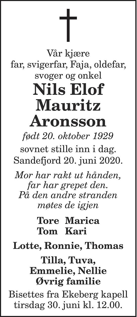 Nils Elof Mauritz Aronsson Dødsannonse