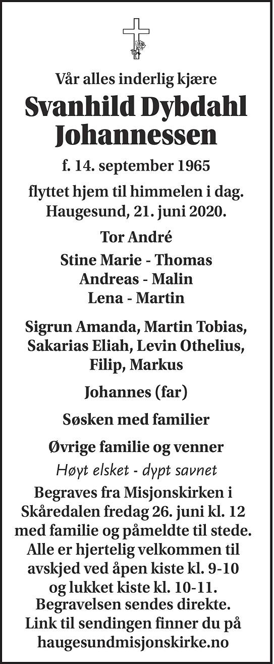 Svanhild Dybdahl Johannessen Dødsannonse