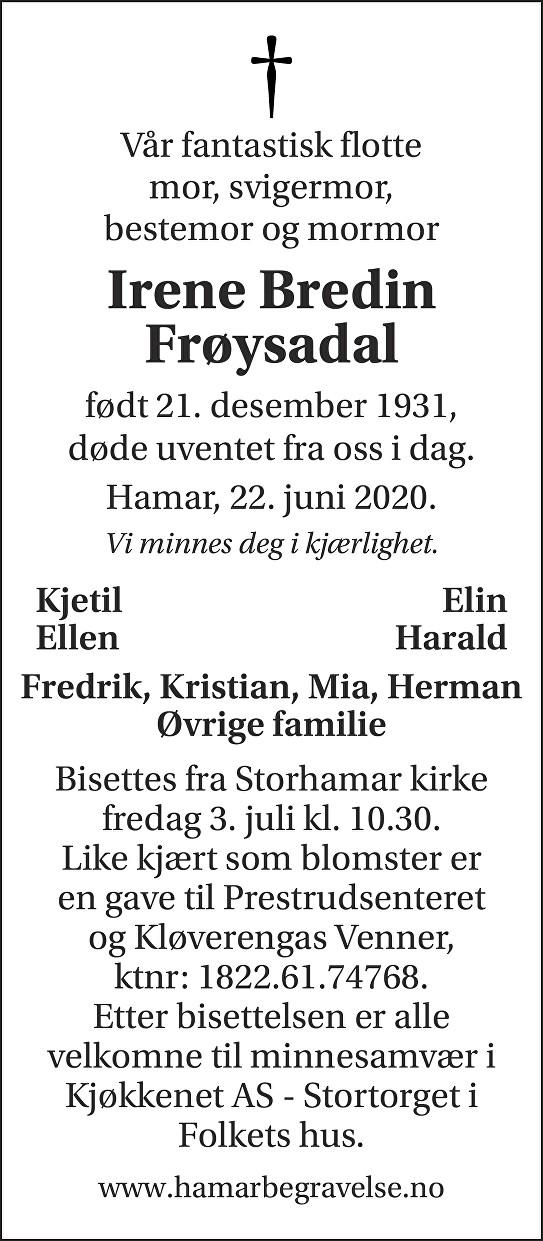 Irene Bredin Frøysadal Dødsannonse