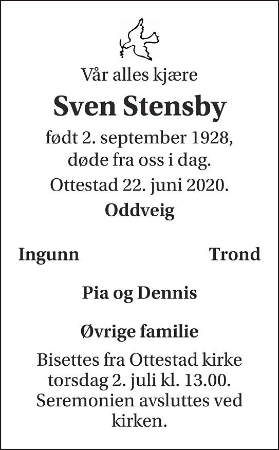 Sven Stensby Dødsannonse