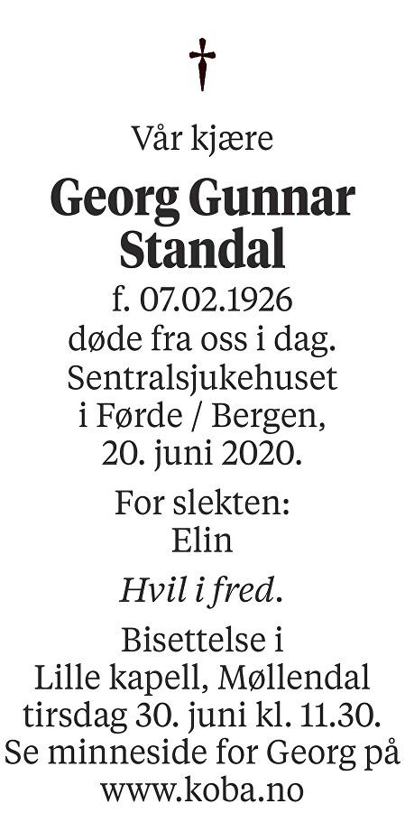 Georg Gunnar Standal Dødsannonse