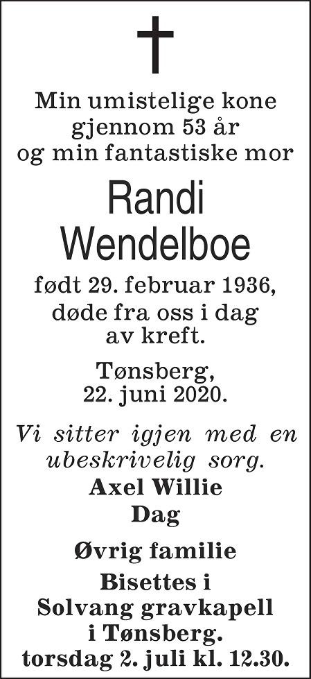 Randi Wendelboe Dødsannonse