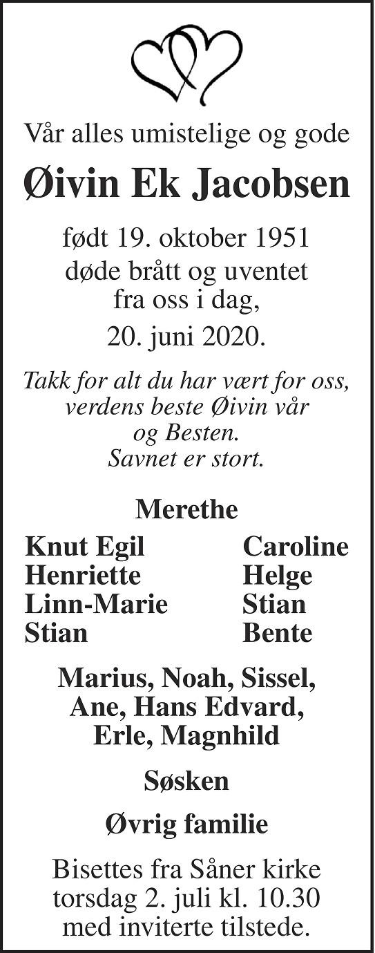 Øivin Ek Jacobsen Dødsannonse