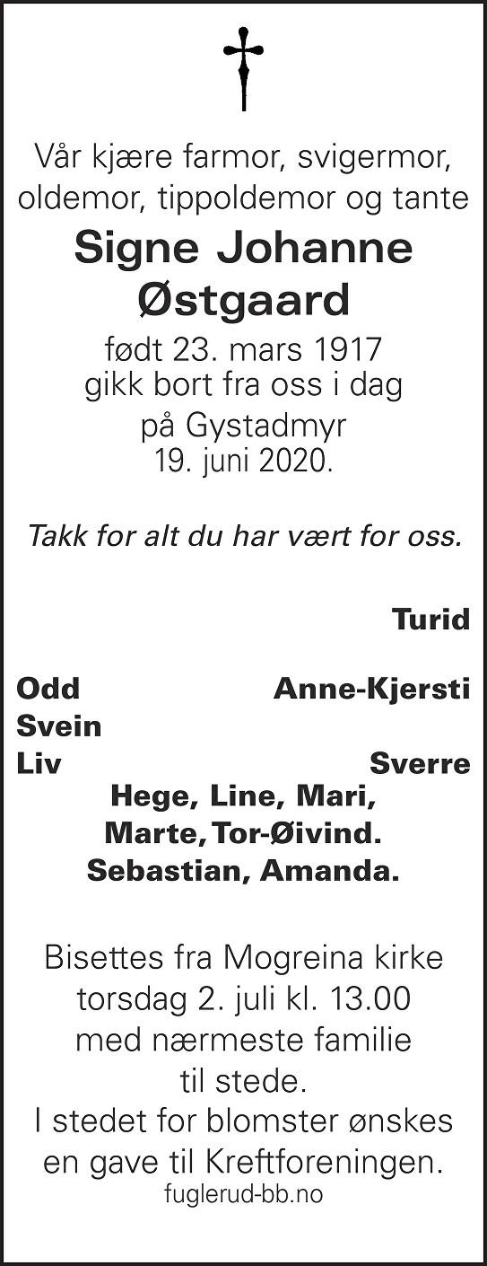 Signe Johanne Østgaard Dødsannonse